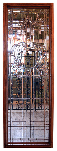 Consigned Colossal Hand-Cut Beveled Glass Windows, Set Of 2.