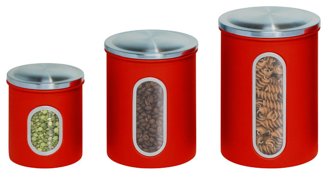 Metal Nested Canister Set, Red, 3 Piece.