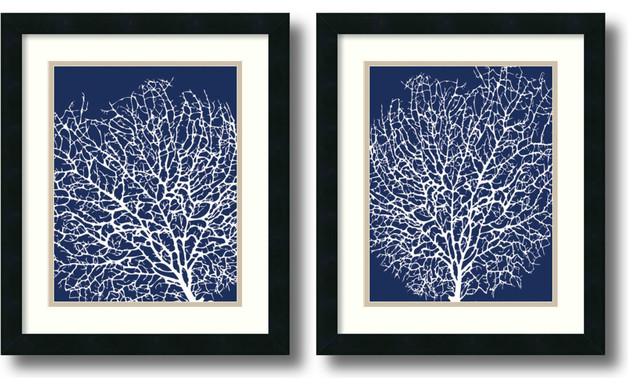 sabine berg navy coral framed print 17x20 set of 2