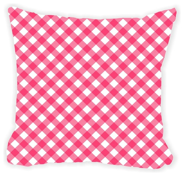 Black Microfiber Throw Pillows : Rikki Knight LLC - Pink Plaid On White Microfiber Throw Pillow - View in Your Room! Houzz