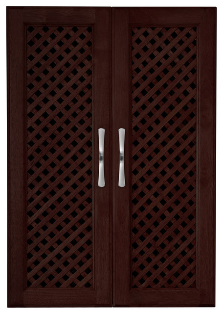 Solid Wood Closets Cabinet Doors With Lattice Mesh, Set Of 2 Espresso Finish.