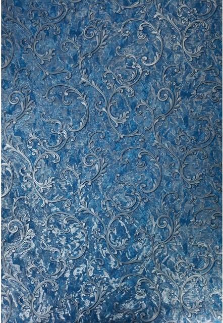 Damask Wallpaper Blue Silver Metallic Textured Victorian 3d