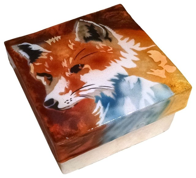 Kubla Crafts Capiz Shell Red Fox Trinket Jewelry Gift Change box contemporary-jewelry-boxes-and-organizers