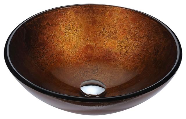 Posh Series Deco-Glass Vessel Sink, Amber Gold