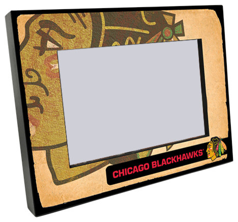 Chicago Blackhawks Vintage Style Wooden 4x6 Picture Frame Rustic