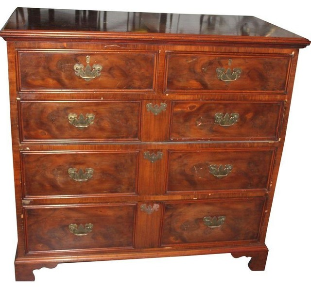 1800s Antique Burl Wood Chest Of Drawers Traditional
