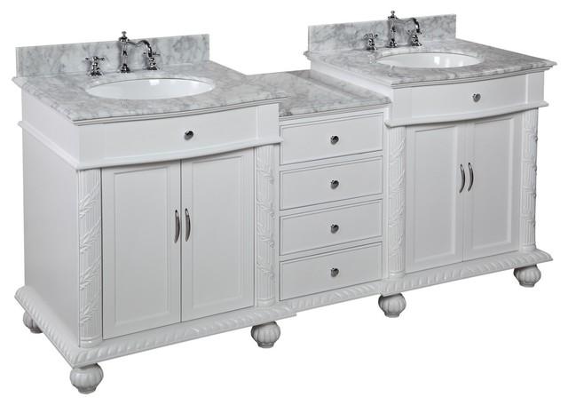 "buckingham "" bath vanity, white with carrara marble top, Bathroom decor"