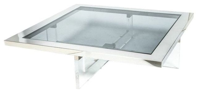 sold out! cocktail table with chrome, lucite, and glass - $1,500