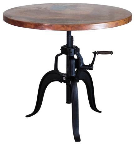 """Edison Crank Copper Bistro Table, Natural, 36""""."""