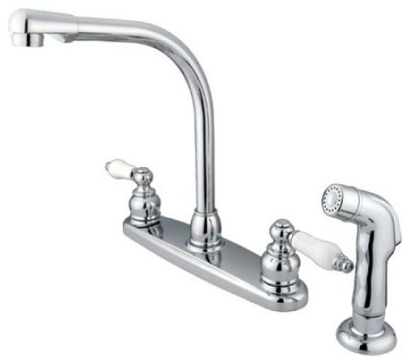 high arch kitchen faucet victorian high arch kitchen faucet with non metallic sprayer transitional kitchen mixers 3217