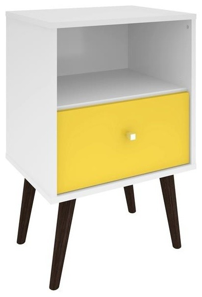 Liberty Mid-Century Modern Nightstand 1.0, White/yellow.