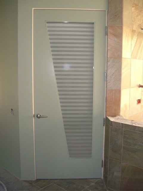 Interior Glass Doors With Obscure Frosted Glass   Sleek Bands Bathroom Door  Contemporary Bathroom