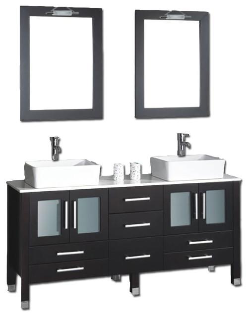 """Moniteau 63"""" Espresso Double Sink Vanity Set, Chrome Faucets."""