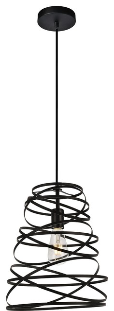 "Sybil 11.8"" 1-Light Pendant Light, Matte Black Finish."
