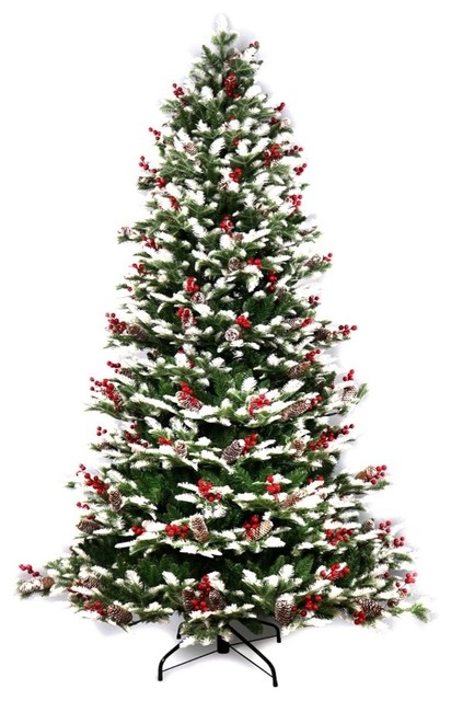 Snow Dusted Artificial Christmas Tree With Cranberry Clusters, 5'