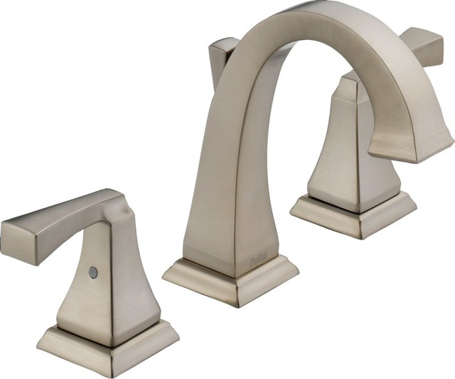Delta Alux Spotshield Brushed Nickel 2 Handle Widespread: Delta Dryden 2-Handle Widespread Lavatory Faucet