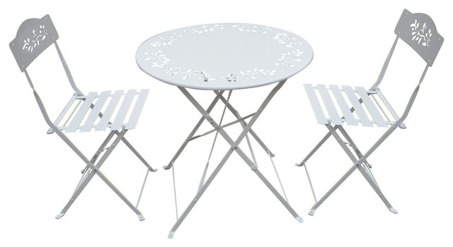 3-Piece Metal Bistro Set With 2 Chairs, White.