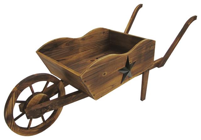 Wooden Wheelbarrow Planter Rustic Wheelbarrows And