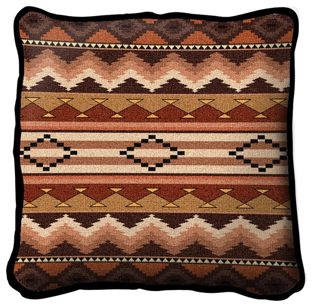 Southwest Sampler Clay Pillow - Southwestern - Decorative Pillows - by Fine Art Tapestries