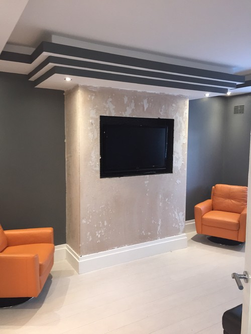 Black Glass Chimney Breast And Feature Mirrors