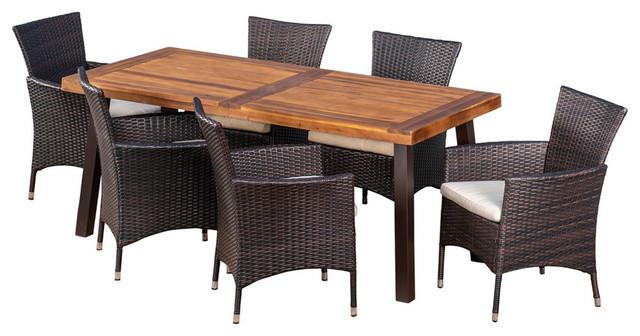 GDF Studio 7-Piece Randy Outdoor Acacia Wood/Wicker Dining Set With Cushions