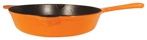 Le Chef Enameled Cast Iron Orange Deep Skillet 12-Inch..