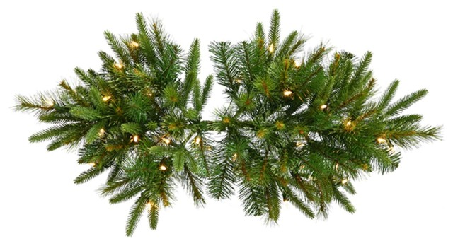 36 Pre-Lit Battery Operated Mixed Pine Cashmere Christmas Swag, Clear Lights.