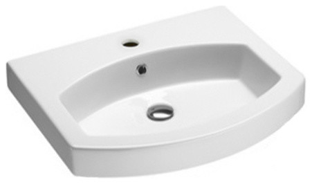 Curved Wall Mounted, Vessel, Or Self Rimming Bathroom Sink, One Faucet Hole