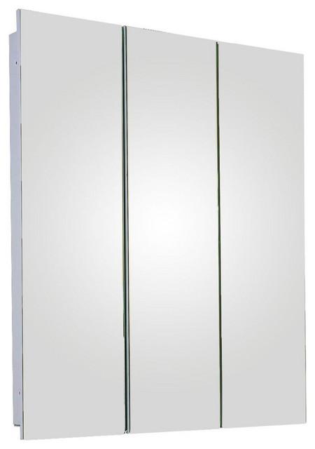 "Tri-View Series Medicine Cabinet, 24""x30"", Polished Edge"