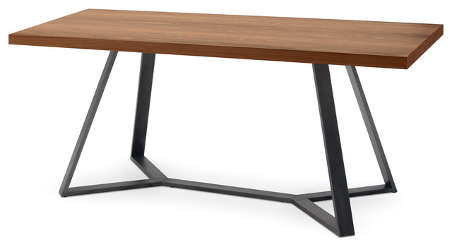Domitalia Archie Rectangular Table, Anthracite And Walnut Modern Dining  Tables