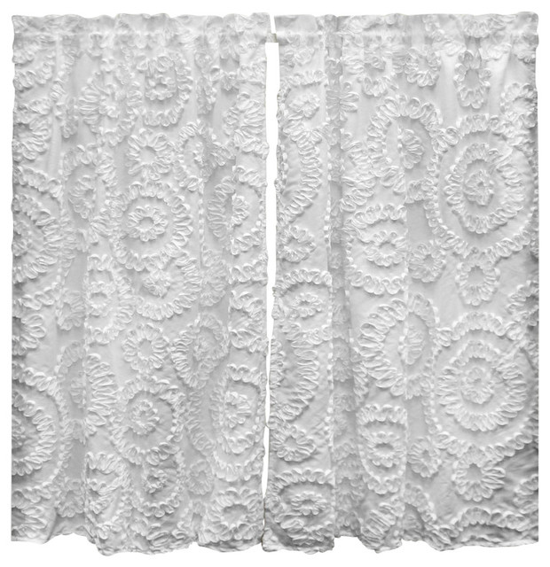 lush decor keila kitchen tier white set  valances  houzz, Home decor