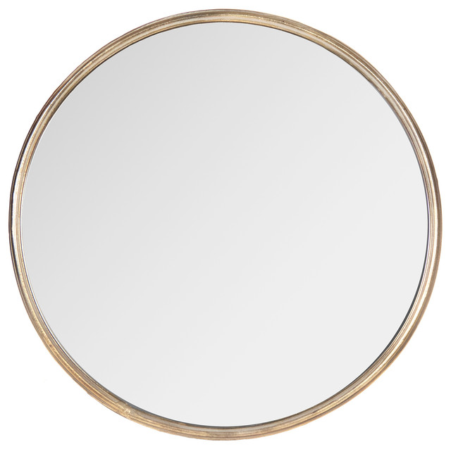 Libby hollywood regency thin frame antique bronze round for Large round gold mirror