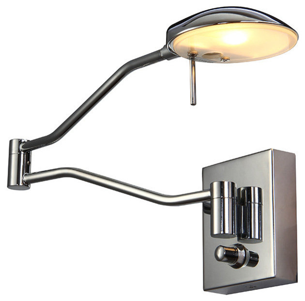 chrome wall sconce with swing arm contemporary swing arm wall lamps. Black Bedroom Furniture Sets. Home Design Ideas