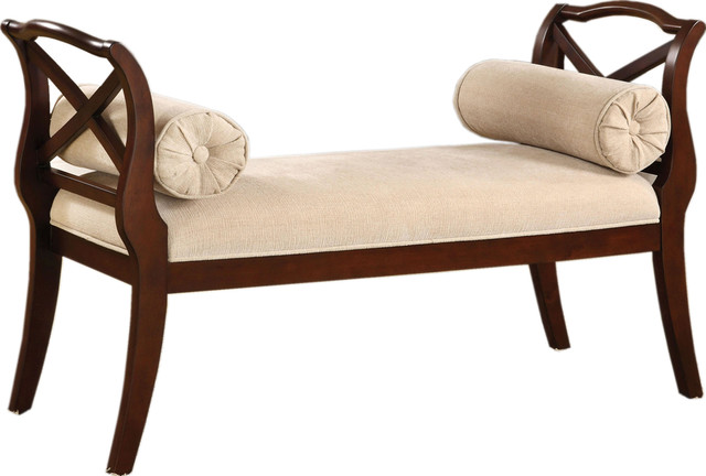 Upholstered Bench With Pillows, Ivory Fabric Seat Curved Armrests, Dark Cherry.