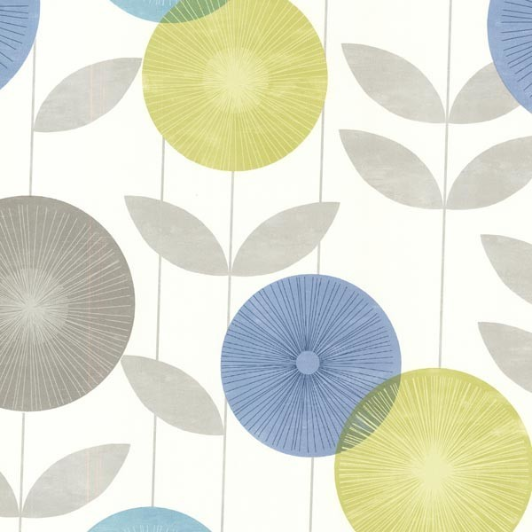 Monroe Aquamarine Modern Floral Wallpaper Bolt