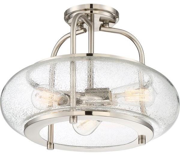 3-Light Semi Flush Mount Kitchen Island Dining Room Ceiling Light.