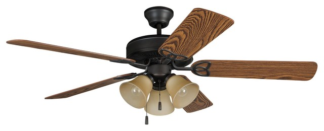 "Ellington Builder Deluxe 52"" Aged Bronze Builder Ceiling Fan With 5 Blades."