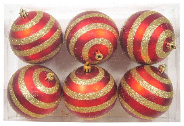 6-Pack Red Ball Ornament With Lines