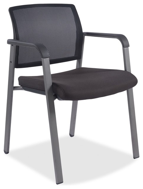 Lorell Stackable Guest Chair Fabric Black Plastic Seat Back