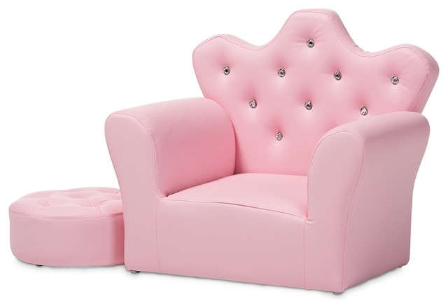 Super Modern And Contemporary Pink Faux Leather 2 Piece Kids Armchair And Footrest Set Creativecarmelina Interior Chair Design Creativecarmelinacom