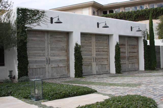 Reclaimed Wood Garage Doors - French Design on a modern house
