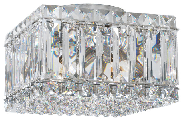 Quantum 4-Light Close To Ceiling In Stainless Steel, Swarovski Clear Crystals.