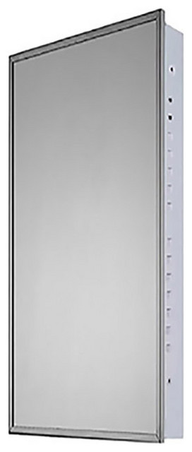 """Medicine Cabinet, 18""""x42"""", Bright Annealed Stainless Steel Frame, Flush Mounted"""