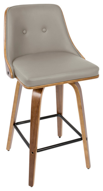 Gianna 26 Mid Century Modern Counter Stool Walnut And Light Gray