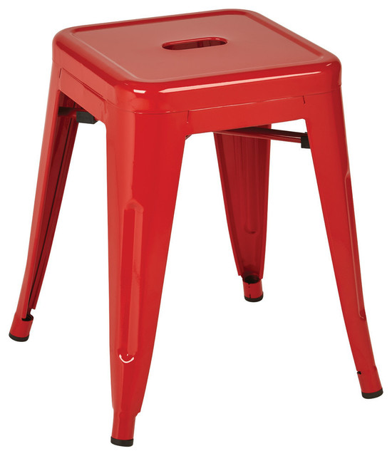 """Patterson 18"""" Metal Backless Barstool, Red Solid, Fully Assembled, Set of 4"""