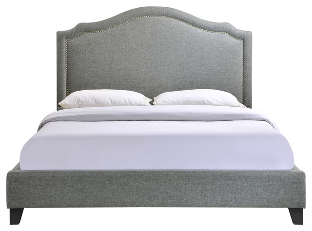 Modern Contemporary Bedroom Queen Bed Frame Gray.