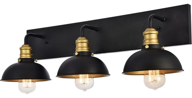 Anders Collection Wall Sconce 27 X8 3 3 Light Black And Brass Finish Industrial Bathroom Vanity Lighting By Buildcom
