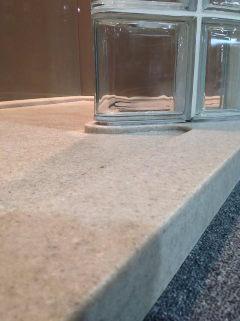 Low Threshold Curb Custom Solid Surface Shower Pan Modern Bathroom