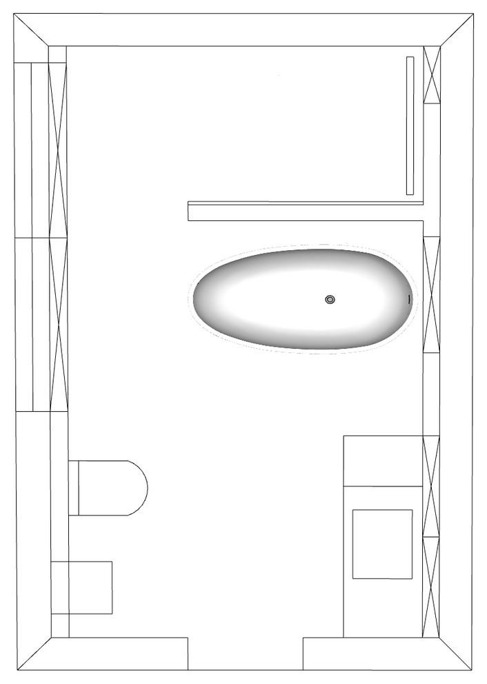 Grundrissplanung Bad mit freistehender Wanne