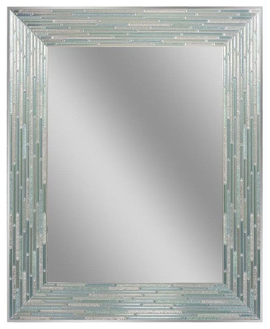 Head west inc reeded sea glass mirror 24 x30 for Glass mirrors for bathrooms